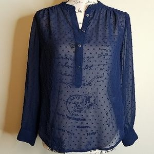 J.Crew XSP sheer, navy blue long sleeve blouse.
